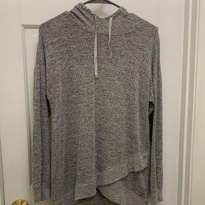 Gray hooded longsleeved shirt